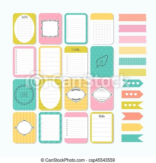 Template for notebooks cute design elements flat style clipart