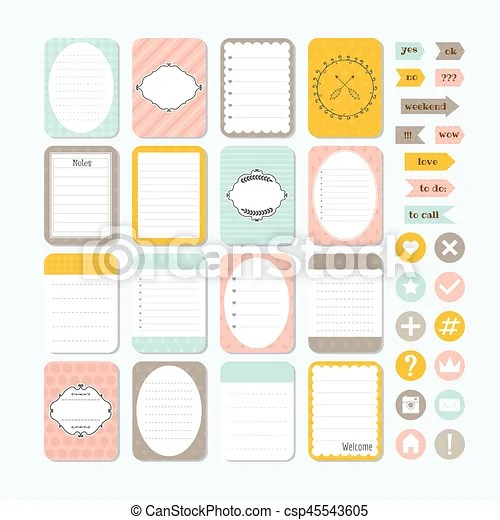 Template for notebooks cute design elements notes, labels