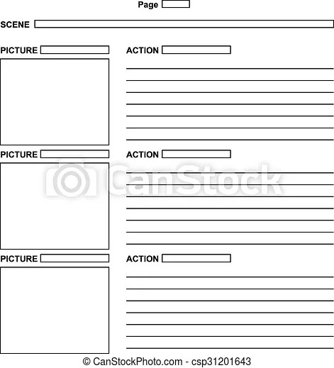 Template for the script storyboard The template for the script - script storyboard