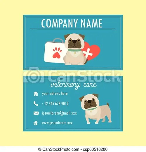 Template veterinary business card,cute cartoon french bulldog,vector