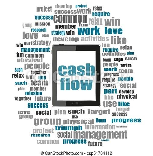 Text cash flow business concept  word collage with tablet pc - cash flow business