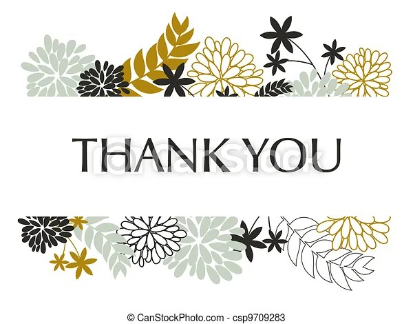 Thank you card A greeting card template with floral vectors