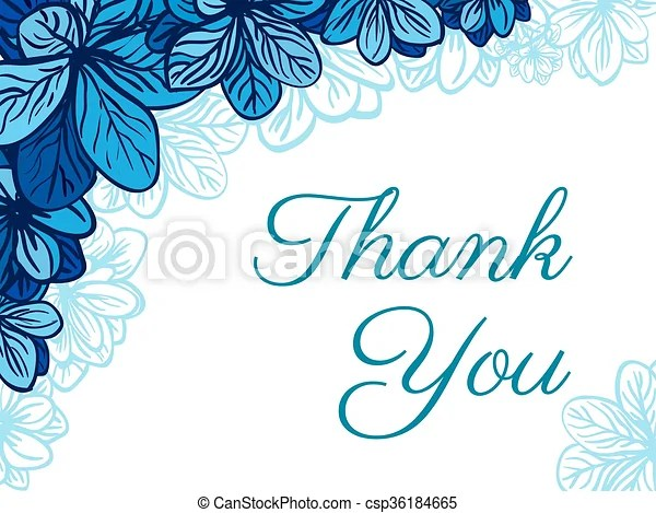 Thank you card with blue flowers Greeting card template with cute