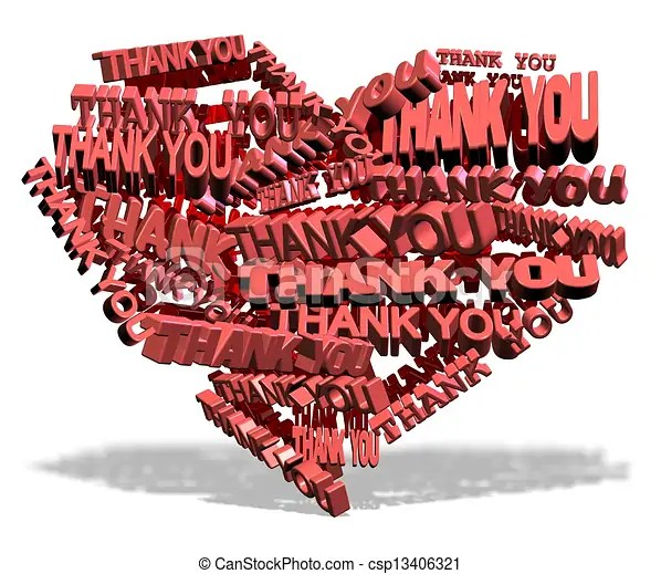 Thank you from heart Shape of a heart made from words thank you