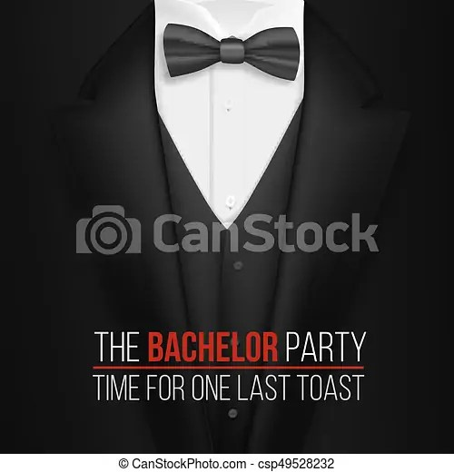 Illustration of the bachelor party invitation template realistic 3d