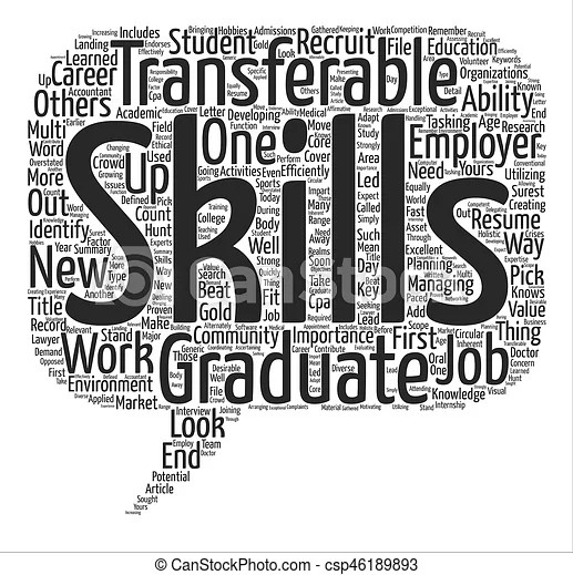 The importance of transferable skills for graduates word cloud