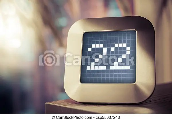 The number 22 on a digital calendar, thermostat or timer