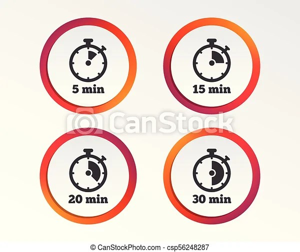 Timer icons five minutes stopwatch symbol Timer icons 5, 15, 20