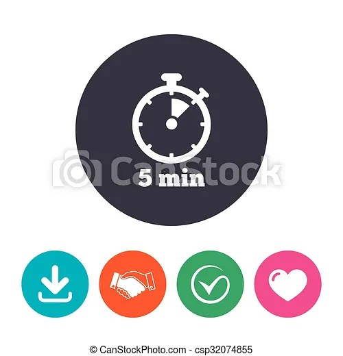 Timer sign icon 5 minutes stopwatch symbol download arrow