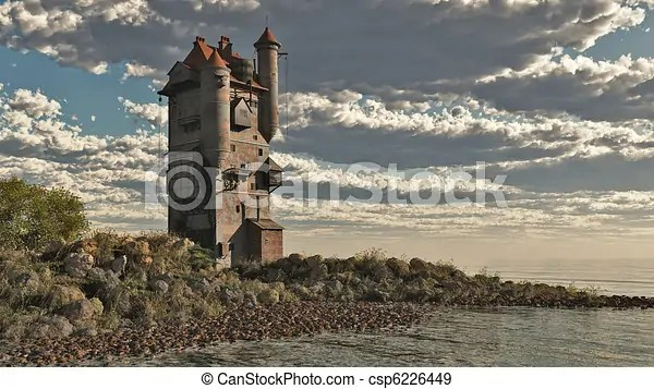 3d Stone Style Wallpaper Tower Castle By The Lake Fantasy Medieval Style Tower