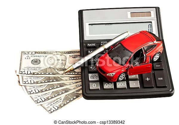 Toy car, money and calculator over white concept for buying
