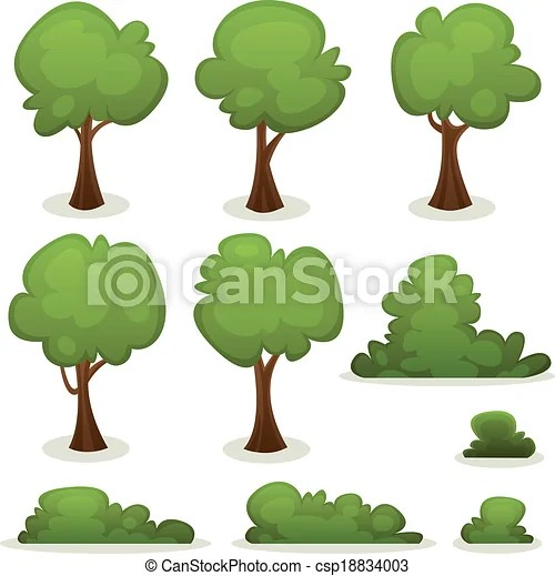 Trees, hedges and bush set Illustration of a set of cartoon spring