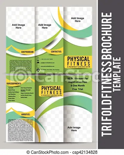 Tri fold fitness brochure template design vector vector