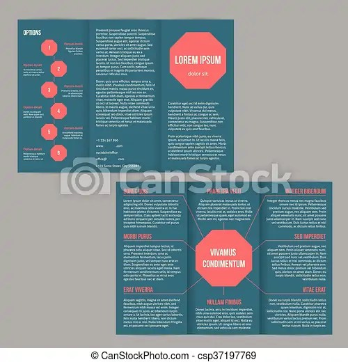Tri-fold flyer brochure template with red dots