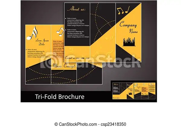 Tri-fold music brochure template with information clipart vector