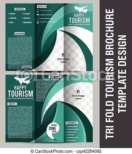 Tri fold tourism brochure template design vector eps vectors