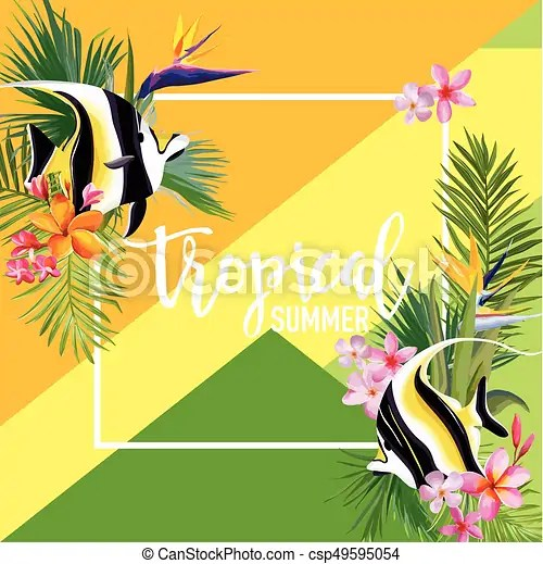 Tropical flowers and fish summer banner, graphic background, exotic