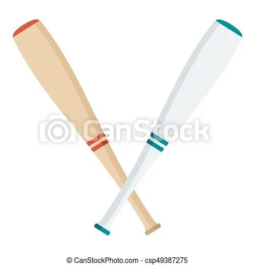 Two baseball bats Wooden and white baseball bat flat vector