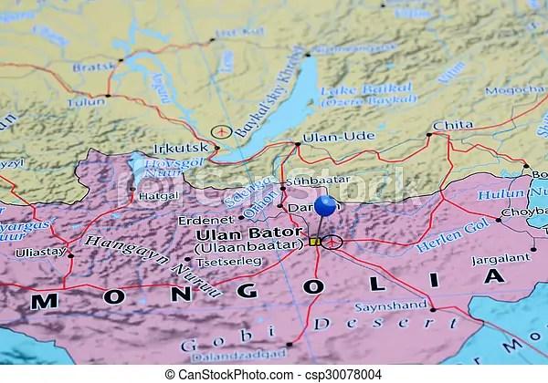 Ulan bator pinned on a map of asia Photo of pinned ulan bator on a