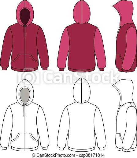 Unisex hoodie template Hoodie sweater template (front, side  back