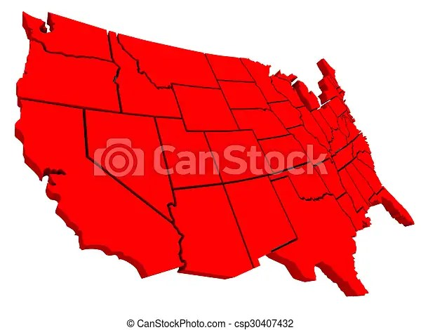 United states america usa 3d red map background United states of