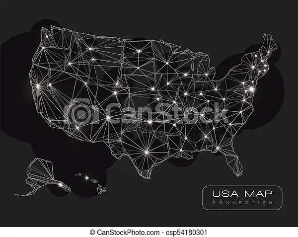 United states map abstract vector background - black and white