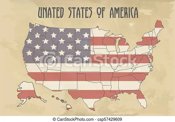 United states of america map with flag north america illustration