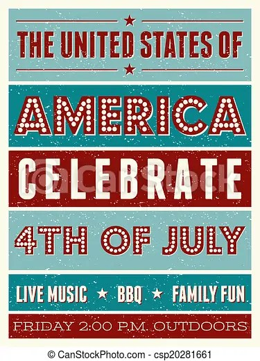 Us independence day party flyer Retro style party flyer for the