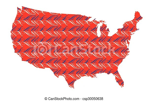 Usa text map background An outline map of the united states of
