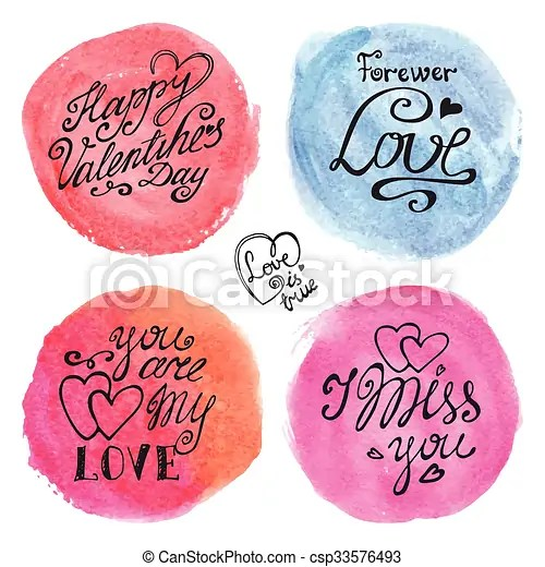 Valentines day lettering backgroundswatercolor circle splashes