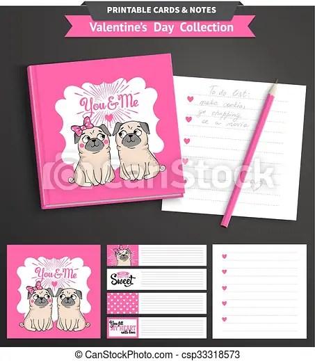 Valentines day printable set wih funny pugs Valentines day set wih