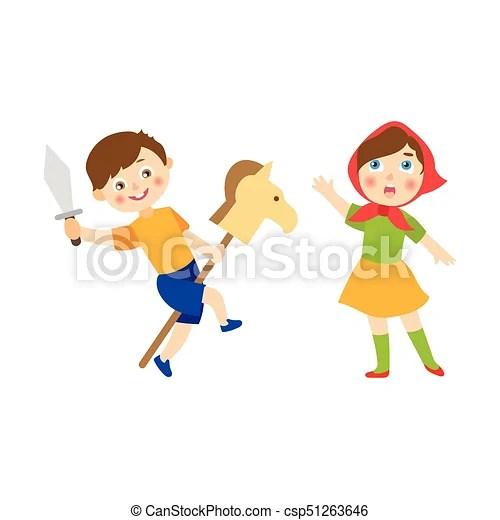 Vecotr flat boy and girl acting in play Vector flat cartoon - cartoon children play