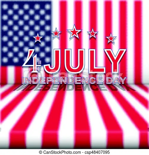 Vector 4th of july independence day on blurred usa national flag - 4th of july template