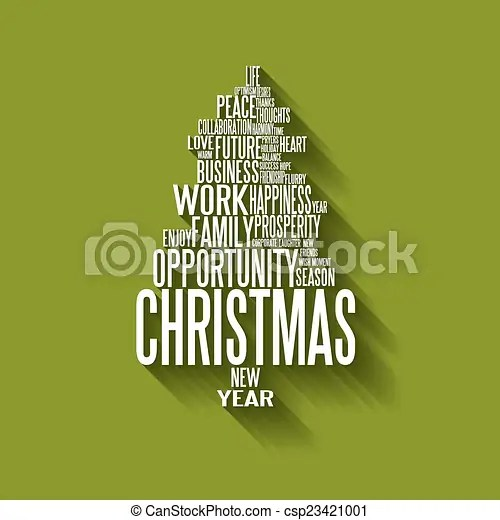 Vector abstract christmas tree made from words Vector abstract - christmas tree words