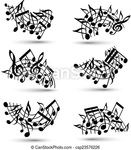 Vector black jolly staves with musical notes on white background