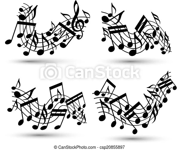Vector black jolly wavy staves with musical notes on white