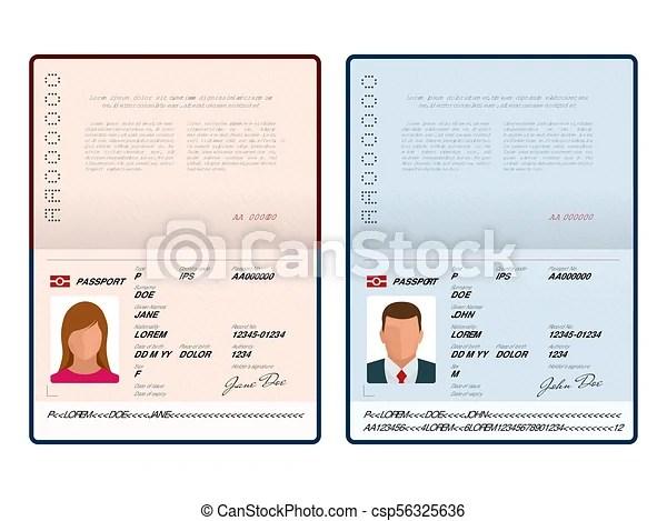Vector blank open passport template international passport - passport template