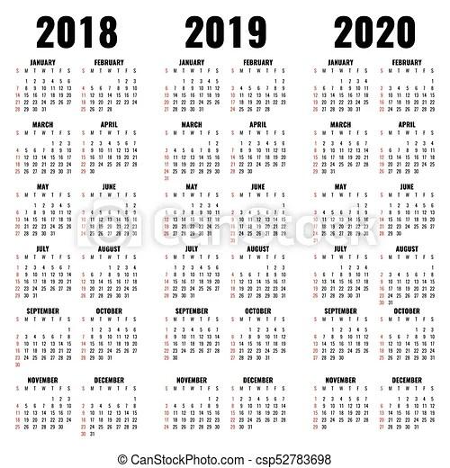 Vector calendar template 2018, 2019 and 2020 years calendar of year