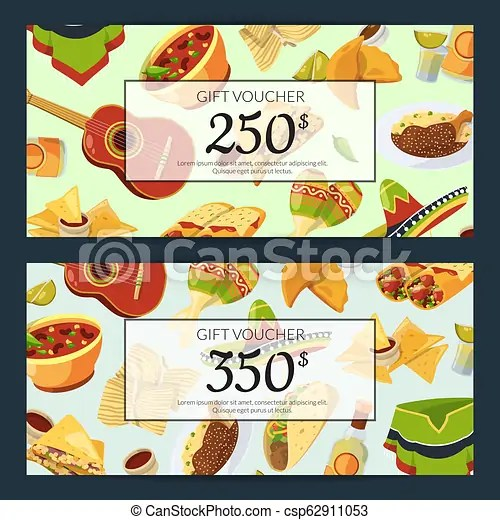 Vector cartoon mexican food discount or gift voucher templates