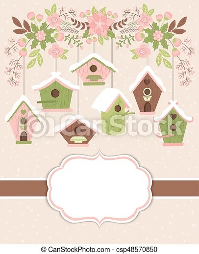 Vector christmas and new year card template with birdhouses and