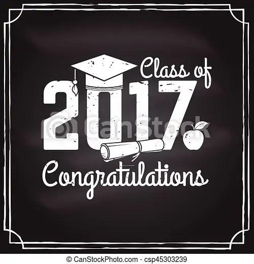 Vector congratulations graduates class of 2017 badge concept for