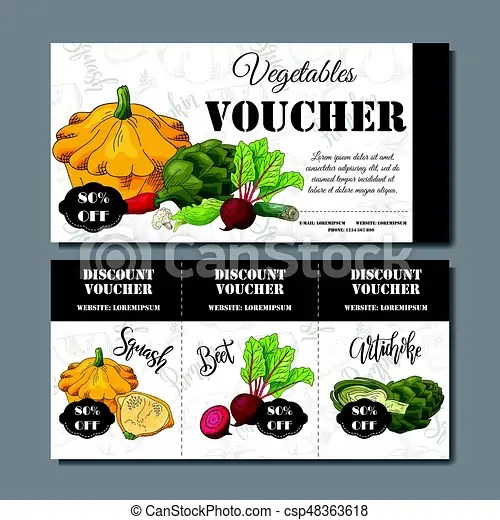 Vector coupon template with vegetables set of farmer banners with - food voucher template
