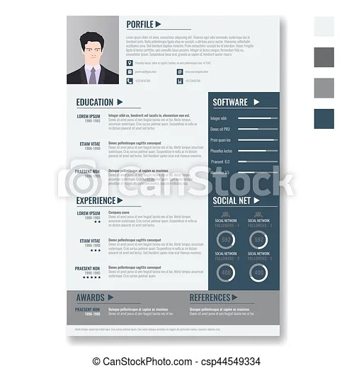 Vector creative minimalist cv resume template with two vectors - minimalist resume template