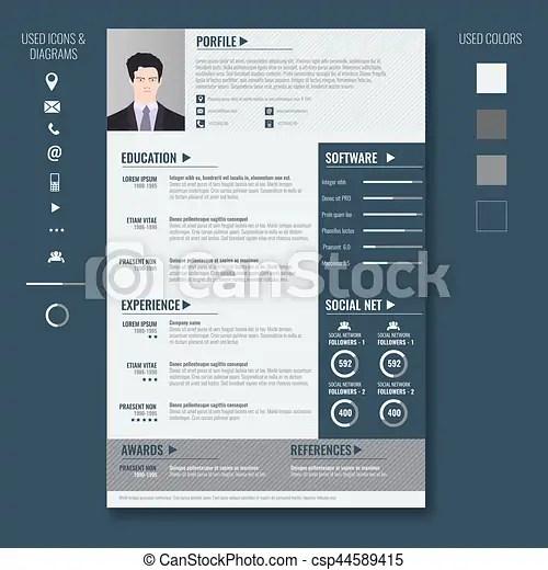 Vector creative minimalist cv resume template with two vector - minimalist resume template
