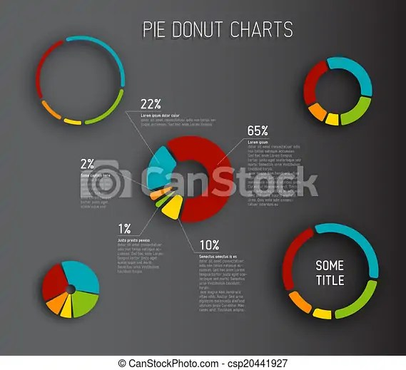 Colorful vector donut pie chart templates for your reports - pie chart templates