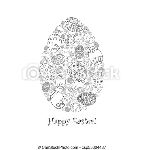 Vector easter invitation card of egg shape from doodle easter egg with