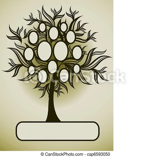 Vector family tree design with frames and autumn leafs vector