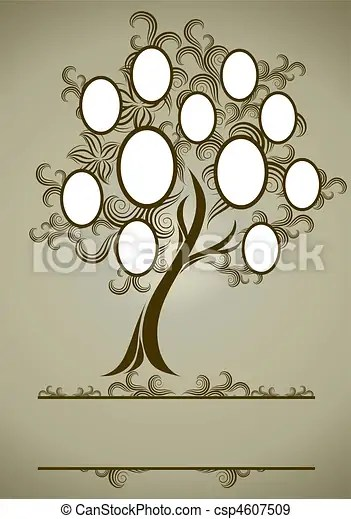 Vector family tree design with frames and autumn leafs eps