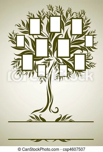 Vector family tree design with frames and autumn leafs vectors