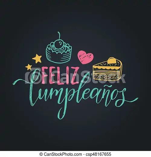 Vector feliz cumpleanos, translated happy birthday lettering design